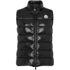 Moncler Ghany Black Quilted Shell Gilet - Size 0 (€355) ❤ liked on Polyvore featuring outerwear, vests, moncler gilet, zip vest, quilted gilet, moncler and quilted vest