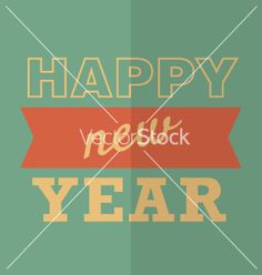 Retro Happy new year poster or card hipster style vector - by Greeek on VectorStock®