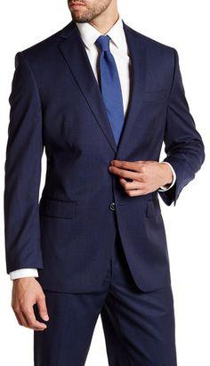 Calvin Klein Malik Navy Micro Stripe Two Button Notch Lapel Wool Jacket