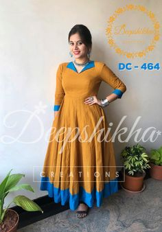 DC - Anarkali in collar style with blue open collar and blue . For queries kindly WhatsApp : 9059683293 12 January 2018 Designs For Dresses, Dress Neck Designs, Blouse Designs, Churidar Designs, Kurta Designs Women, Kalamkari Dresses, Ikkat Dresses, Designer Anarkali Dresses, Kurta Neck Design