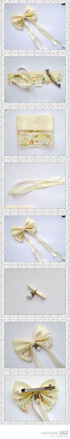 tutorial arco originales. Material: cinta de raso de doble cara y gasa con 24 cm, delgadas cintas 30 cm 40 cm. Colgante de perlas de imitación, pinza de resorte de 8 cm
