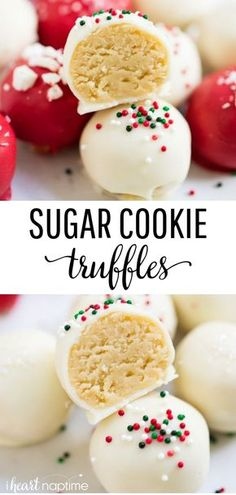 No-bake sugar cookie truffles made with only 4 ingredients!-No-bake sugar cookie truffles made with only 4 ingredients! An easy and deliciou… No-bake sugar cookie truffles made with only 4 ingredients! An easy and delicious treat for the holidays. Christmas Snacks, Christmas Cooking, Christmas Deserts Easy, No Bake Christmas Cookies, Easy Holiday Cookies, Christmas Truffles, Christmas Meal Ideas, Cozy Christmas, Holiday Snacks