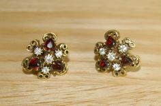 Vintage Screw Back Earrings Red Cystal Hearts and by bettysworld4u