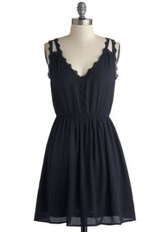 Such an adorable little black dress! It's something I know I can wear any season. Perfect for summer nights. I could add a cardigan for the fall and a colored leather jacket and tights for winter. Farmer's Market Morning Dress, #ModCloth