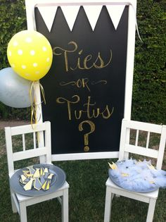 "JOY.. LOOK  at this gender reveal. Photo 9 of 34: Yellow & Grey / Gender Reveal ""Ties or Tutus?"" 