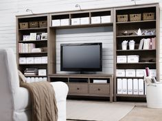 If we ever finally get tired of the built-ins/if the upstairs TV ever dies... Hemnes from IKEA! $650 for the whole system
