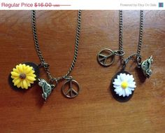 On Sale VW Bus Charm Necklace Sunflower by ColorsoftheSeasons
