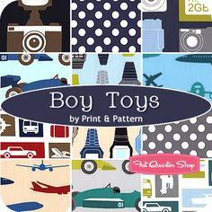 Boy Toys Fat Quarter Bundle Print & Pattern for Robert Kaufman Fabrics - Fat Quarter Shop