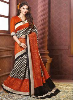 Black and Orange Block Print Art Silk Classic Printed Saree