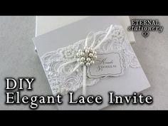 Elegant beaded lace and brooch wedding invitation | DIY Invitations - YouTube