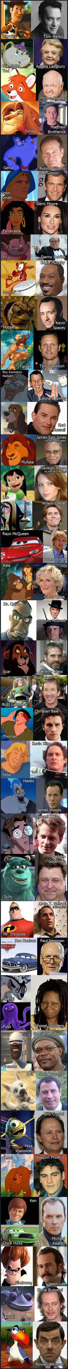 Characters and their counterparts. I didn't know some of these actors/actresses voiced in those Disney movies!