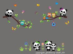 Nursery Wall Decals with Panda Bears, Branches - Baby Wall Decal - 525