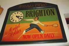 Tennis wall art Tennis club Brighton Sport Antique tennis art Tennis decor Tennis wall decor Tennis sign Retro decor Vintage wall art Clock Vintage Wall Art, Vintage Walls, Vintage Home Decor, Pub Decor, Wall Decor, Sports Room Decor, Tennis Gifts, Art Deco Chandelier, Tennis Clubs