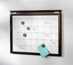 Daily System Magnetic Whiteboard Calendar #potterybarn  Would like two, to slide off of rods and rotate to see two months at a time.
