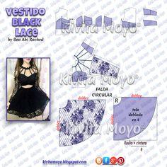 KiVita MoYo : VESTIDO BLACK LACE Diy Emo Clothes, Diy Clothes And Shoes, Sewing Clothes, Dress Sewing Patterns, Doll Clothes Patterns, Sewing Patterns Free, Clothing Patterns, Fashion Sewing, Diy Fashion