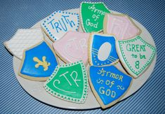 Shield Cookie Cutter - CTR Cookie Cutter - CTR cookies - Return with Honor- Armor of God - Shield of Faith - Armies of Helaman cookies Ctr Shield, Shield Of Faith, Cookie Wedding Favors, Bridal Shower Favors, Yw In Excellence, Armor Of God, School Themes, Superhero Party, Recipe Cards