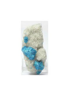 Cavansite Blue Crystal on White Stilbite Matrix by FenderMinerals