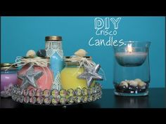 DIY No Wax Candles!? Scented, Color, & Bug It - YouTube Lisa Pullano Crisco Recycle Jar Starbucks Mason home decor