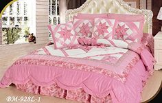 DaDa Bedding New Girly Girl Quilt Set, Queen, Patchwork, Pink Elegant Comforter Sets, Girls Comforter Sets, Comforter Sale, Ruffle Comforter, Ruffle Quilt, Kids Bedding Sets, Pink Bedding, Luxury Bedding Sets, Paris Bedding
