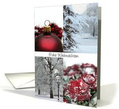 german christmas card - Red Winter collage card