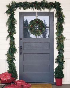 holly wreath and garland