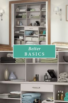 This straightforward storage configuration provides organization for sheets, blankets, and other bedroom and bath necessities. Reach In Closet, Organizing, Organization, California Closets, Small Space Storage, Custom Closets, House Building, Beach Houses, Bathroom Medicine Cabinet