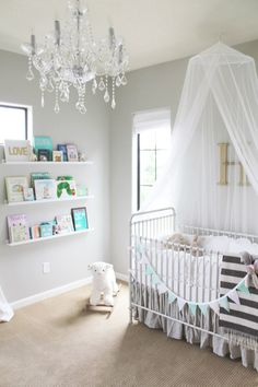 Just bought this chandelier for my dressing room that will later be a nursery .Fawn Over Baby: A Minted Glam Nursery Design From Veronika's Blushing
