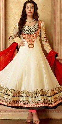 Admirable Cream Georgette Anarkali Suit With Dupatta SKU: NC5425 RS.3,774 http://bit.ly/1RKOukk