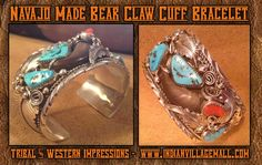 Navajo Made Turquoise And Red Coral Sterliing Silver Large Cuff Bracelet - By M Thomas Jr.- From Tribal And Western Impressions - Old West Cowboy And Indian Store -  www.indianvillagemall.com