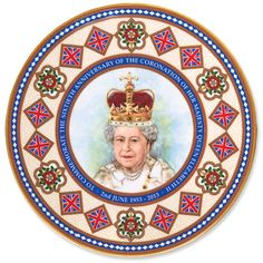 """Limited Edition Queen's Coronation PlateCommemorate the 60th Anniversary of the Coronation of Queen Elizabeth II with this Limited Edition 8"""" plate (of only 1,953 units produced). Embellished with 22k gold, each fine bone china plate is made by Caverswall China, a Royal Warrant holder in Stoke-on-Trent, England. Each plate is numbered and comes in an attractive gift box."""