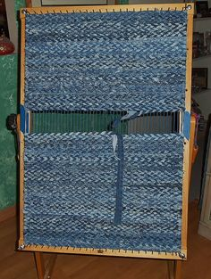 Recycled Bluejeans & fabric Twined Rag Rug by KarenDriscollWeaving~Looking forward to making one like this for Kevin's area.