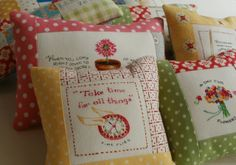 Amy Made That! ...by eamylove: More Thoughtful Pincushions - Part 1 Susan Branch Fabric, fussy cut quotations