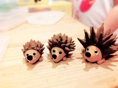 Polymer clay porcupines - would be cute cake or cupcake toppers