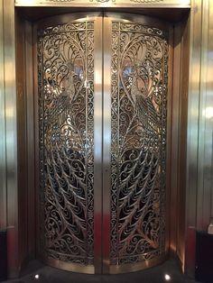 19101115 Art Deco Peacock Doors, The Palmer House Hilton Chicago Pooja Room Door Design, Door Design Interior, Cool Doors, Unique Doors, Puja Room, Door Entryway, Door Knockers, Art Deco Design, Doorway