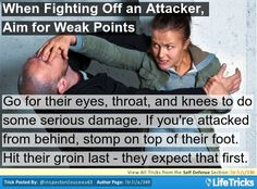 Use the Palm Heel Strike in Self Defense: Get your hands in the high-five position with the palm pushed forward and your fingers back. Step into the attacker and forcefully bang your palm at the top of your attacker's nose, just below their eyes.
