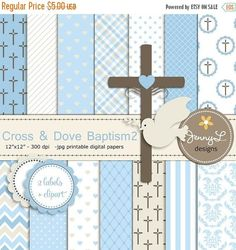 50% OFF Boy Baptism Digital Papers Cross Dove Clipart First