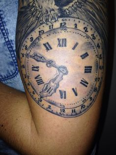 Clock on tattoo