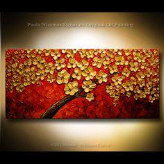 "Original  Palette Knife Painting on Canvas, textured Blooming Tree y by Paula Nizamas 50"" XXL. $335.00, via Etsy."