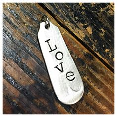 Stamped Vintage Upcycled Spoon Fork Jewelry Pendant Charm - Love by JuliesJunktique on Etsy