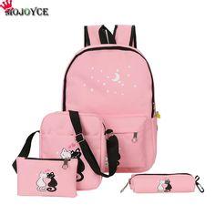 72699bd2e6b 2018 4cs set Canvas Women Backpacks Schoolbag Printing Cute Cat. School  BackpacksGirl ...