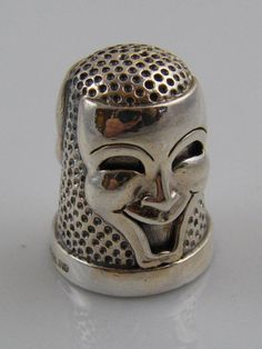 EMBOSSED STERLING SILVER TWO FACE THIMBLE CASE