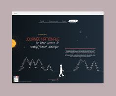Webdesign, horizontal scroll, page événementielle pour promouvoir la Journée Nationale de lutte contre le réchauffement climatique Weather, Global Warming, Wrestling, Weather Crafts