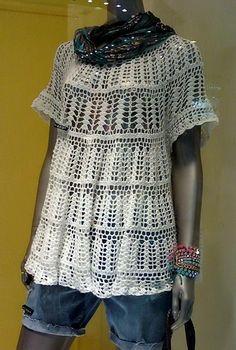Crochet loose tunic sweater;   Camisola túnica solta do crochet
