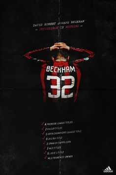 Beckham - Mock Adidas Poster by Cristina Martinez, via Behance soccer poster david beckham mls adidas Soccer Art, Soccer Poster, Football Is Life, Football Soccer, Manchester United Wallpaper, Kun Aguero, Sports Marketing, Football Design, Manchester United Football