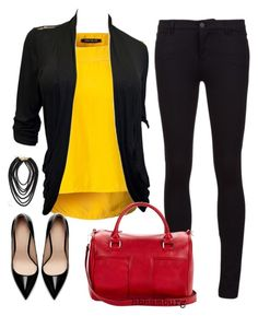 """No. 292 - Black & red & yellow"" by hbhamburg ❤ liked on Polyvore featuring moda, Pennyblack, Vince, Zara, Sole Society, women's clothing, women, female, woman y misses"