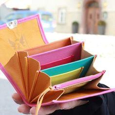 Lange Damen Portemonnaies aus Leder in Pink