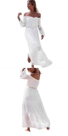 4cf253fcd6 Women white off shoulder sexy strapless summer chiffon long dress beach  dresses ladies lace patchwork beach