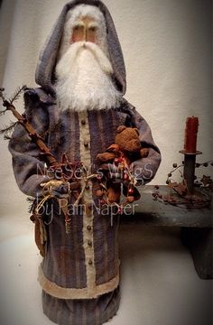All my ability from God...NeeSeY's WiNgS by Pam Napier ❤️. Primitive, Folkart Santa with a cinnamon dusted bear, ditty bag of goodies, primitive candle and holder, and a primitive tree. A primitive charmer.