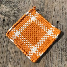 Your place to buy and sell all things handmade Potholder Loom, White Cotton, Woven Cotton, Purple And Black, Pot Holders, Weaving, Quilts, Wool, Orange