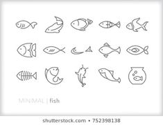 Set of 15 minimal fish icons showing aquatic animals with various fins, scales, tails and gills swimming in water, as a skeleton or in a bowl Full Arm Tattoos, Circle Tattoos, Line Tattoos, Sleeve Tattoos, Owl Tattoos, Tattoo Ink, Fish Bone Tattoo, Small Fish Tattoos, Simple Compass Tattoo